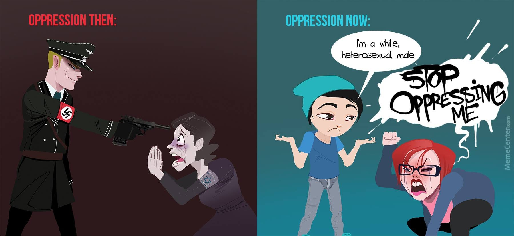 oppression and the oppressed An orientation packet handed out to freshmen at cornell university this year separates privileged from oppressed students the packet, which was first reported on by campus reform, shows a list of identity markers that allegedly determine whether a student is privileged or.