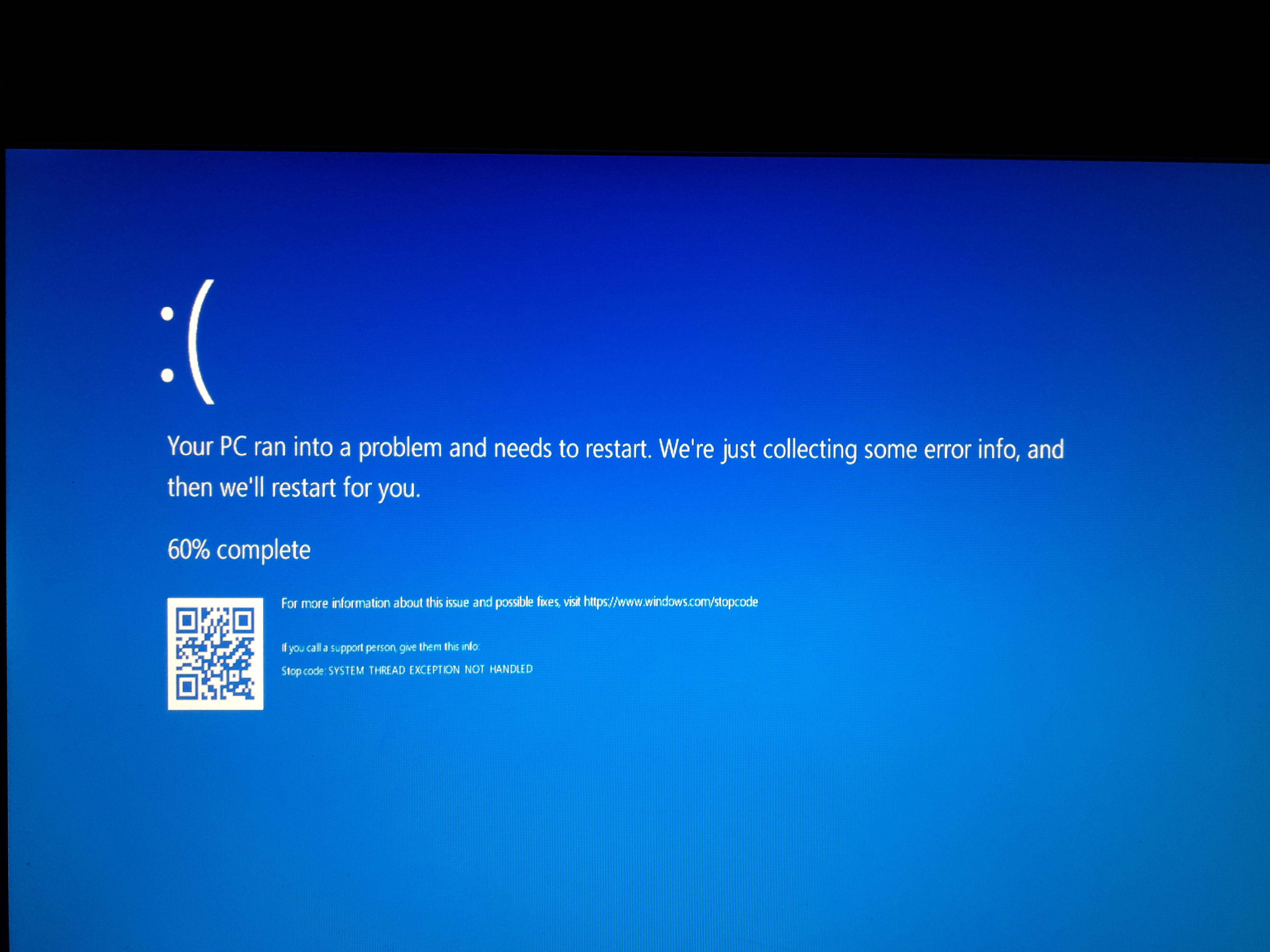 [Blue screen] System thread exception not handled