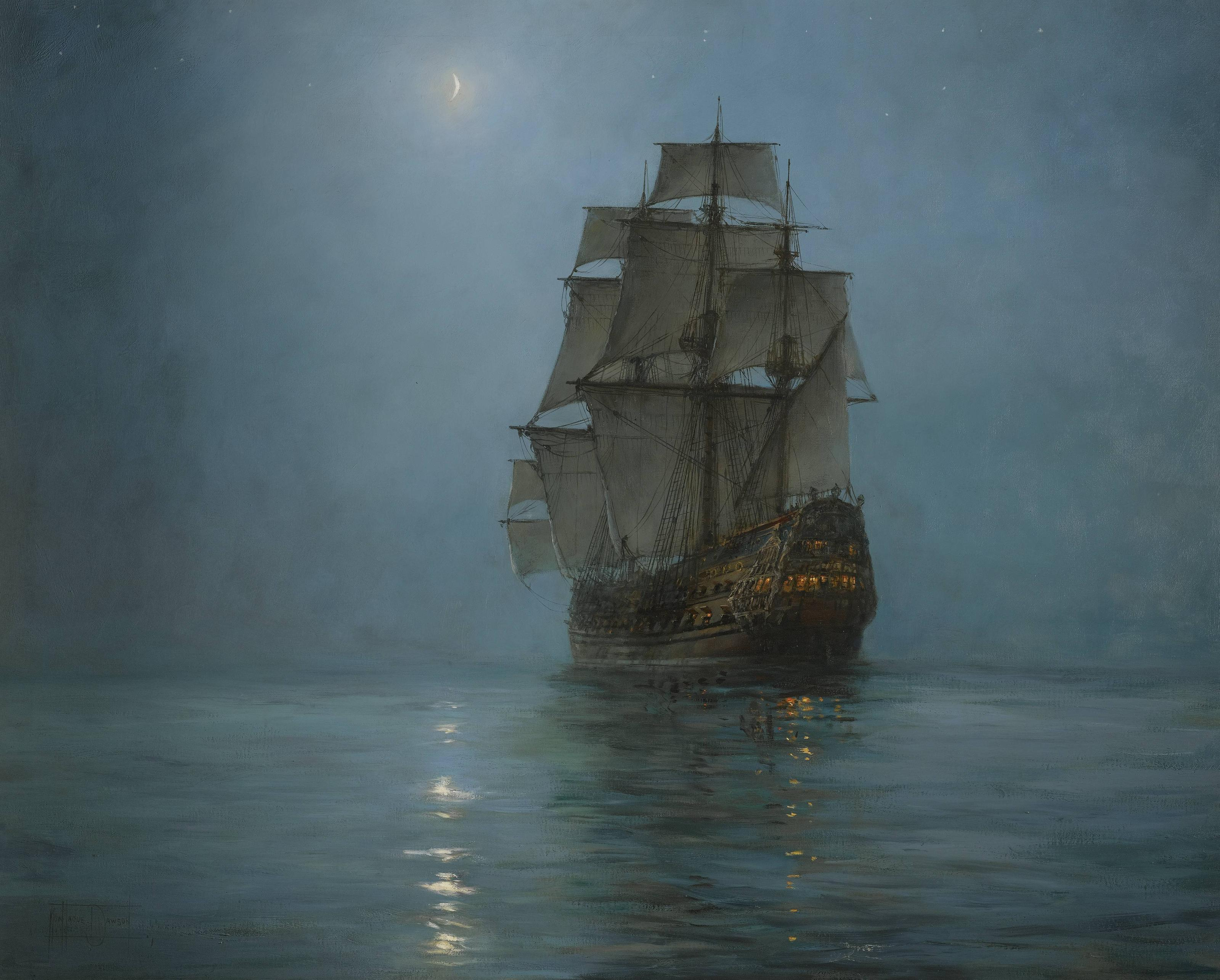 Montague Dawson (1895-1973) | The Crescent Moon